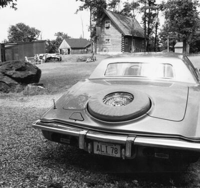 Muhammad Ali's Stutz Blackhawk and his family's chalet home at Ali's Deer Lake training camp in 1978.