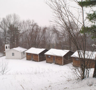 Mosque and guest cabins at Muhammad Ali's training camp at Deer Lake, PA.